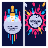 Bowling backgrounds, icons and elements for banner, poster, flyer, label design. Stock Image