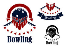 Bowling badges with lanes, balls and ninepins. Bowling badges or emblems in blue and red colors with bowling lanes, ninepins and balls adorned with stars Stock Photos