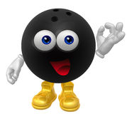 Bowling ball 3d mascot figure. Illustration Royalty Free Stock Photo