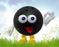 Bowling ball 3d mascot figure Royalty Free Stock Image