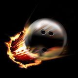 Bowling Ball. In air through fire and flames Royalty Free Stock Images