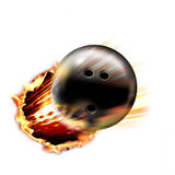 Bowling Ball. In air through fire and flames Stock Photos
