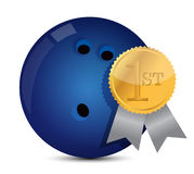 Bowling ball with award. Illustration design over white Stock Image
