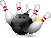 Bowling ball bomb. Crashing into the pins Royalty Free Stock Image