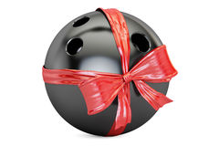Bowling ball with bow and ribbon closeup, gift concept. 3D rende. Ring on white background Stock Photos