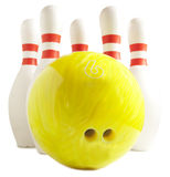 Bowling ball and bowling pin. On a white background Royalty Free Stock Images