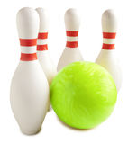 Bowling ball and bowling pin. On a white background Royalty Free Stock Photo