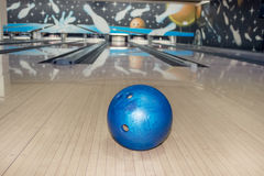 Bowling ball. With bowling strike in background Stock Photo