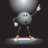 Bowling ball character on the dance floor royalty free illustration