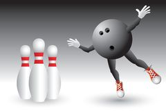 Bowling ball character heading to pins Stock Photos