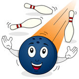 Bowling Ball Character with Skittles Stock Images