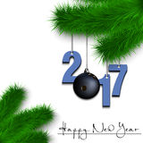 Bowling ball and 2017 on a Christmas tree branch Royalty Free Stock Photo