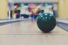 Bowling ball closeup on lane background Stock Photography
