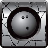 Bowling ball in cracked silver web button Stock Photo