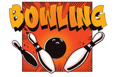 Bowling Ball Crashing Into The Pins Stock Image