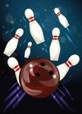 Bowling Ball Crashing Into The Skittles Royalty Free Stock Photography