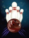 Bowling Ball Crashing Into The Skittles Stock Photos