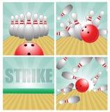Bowling ball crashing into the pins Royalty Free Stock Photography