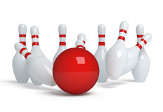 Bowling ball crashing into the pins. 3d render illustration Royalty Free Stock Photos