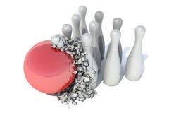 Bowling ball crashing into the pins.  Royalty Free Stock Images