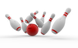 Bowling ball crashing into the pins. 3d Bowling ball crashing into the pins Stock Image