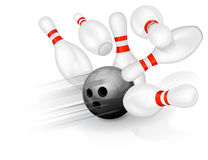 Bowling ball crashing into the pins Stock Images