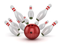 Bowling Ball Crashing Into the Pins Royalty Free Stock Image