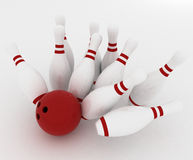 Bowling ball crashing into the pins Royalty Free Stock Photo
