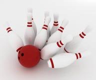 Bowling ball crashing into the pins Royalty Free Stock Photo