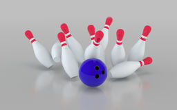 Bowling ball crashing into the pins. 3D rendering illustration. Stock Photos