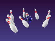 Bowling Ball crashing into the pins. 3D rendering. Bowling Ball crashing into the pins isolated on purple gradient background. Without shadow. Perspective view Royalty Free Stock Photos