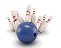 Bowling ball crashing into the pins. Isolate on white. 3d illustration Royalty Free Stock Photography