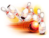 Bowling ball crashing into the pins Royalty Free Stock Images