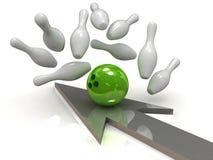 Bowling ball crashing into skittles Stock Images