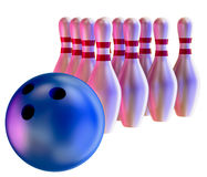 Bowling ball crashing into the skittles Royalty Free Stock Images