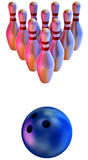 Bowling ball crashing into the skittles Stock Image