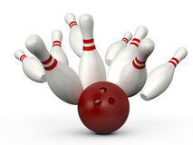 Bowling Ball Crast into Pins Royalty Free Stock Images