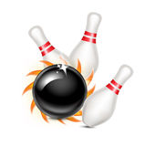 Bowling ball with fire hitting pins isolated on white. Background Stock Images