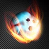 Bowling Ball Vector Realistic. Bowling Ball In Burning Style  On Transparent Background. Bowling Ball In Fire Vector Realistic. Burning Bowling Ball. Transparent Royalty Free Stock Photography