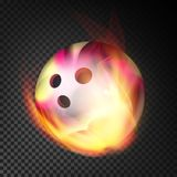 Bowling Ball In Fire Vector Realistic. Burning Bowling Ball. Transparent Background. Bowling Ball Vector Realistic. Bowling Ball In Burning Style  On Transparent Stock Image