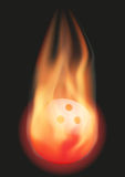 Bowling ball with flame. Burning Bowling ball with a tail of flame. Vector illustration  on background Stock Photos