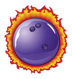 Bowling Ball With Flames. Illustration of a purple bowling ball with flames behind it Royalty Free Stock Photos