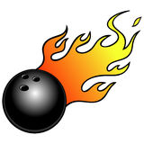 Bowling Ball with Flames. Cartoon illustration of a Bowling Ball with Flames Royalty Free Stock Image