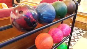 Bowling ball in game center royalty free stock image