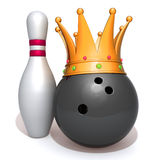 Bowling ball with gold crown  3d illustration. Over white background Stock Image