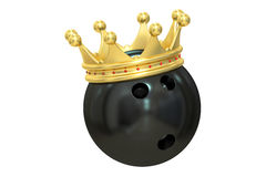 Bowling ball gold crown winner, 3D rendering. On white background Royalty Free Stock Images