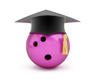 Bowling Ball with Graduation Cap 3D illustration. On a white background Royalty Free Stock Images