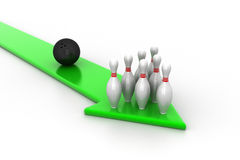 Bowling ball and green arrow Royalty Free Stock Image