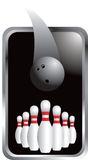 Bowling ball heading to pins in silver frame Stock Photo