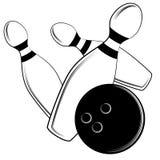 Bowling Ball Hits Pins Stock Images